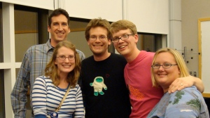 John and Hank Green with me, Steph, and Dr. L.