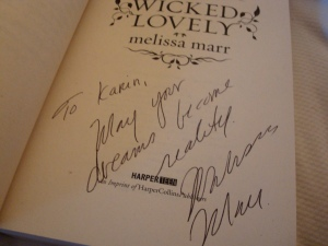 Melissa Marr's autograph in Wicked Lovely