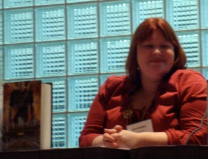 Cassandra Clare getting ready to speak at her session on Tuesday.